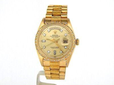 Mens Rolex Day-Date President 18k Yellow Gold Watch Bark Diamond Dial Bezel 1803