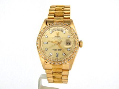 Mens Rolex Day-date President 18k Yellow Gold Watch Bark Diamond Dial Bezel