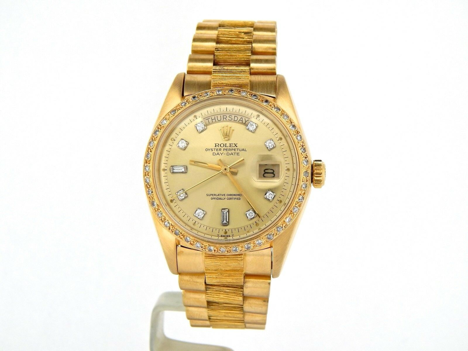 Mens Rolex Day-Date President 18k Yellow Gold Watch Bark Diamond Dial Bezel 1803