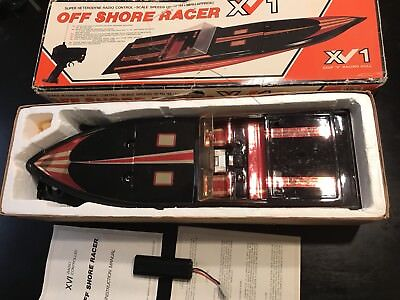 Vtg 1988 XV1 Off Shore Racer Electric  Boat  for age 9 and above With Remote Con