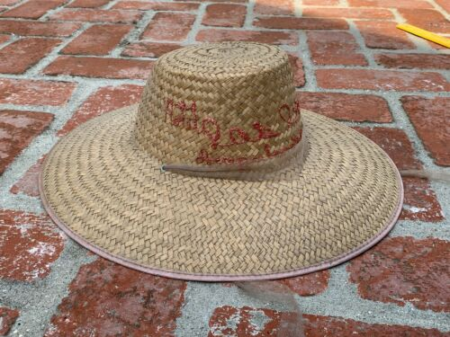 Vtg souvenir straw Sombrero/Hat embroidered Hotel Las Brisas Acapulco Mexico 60s