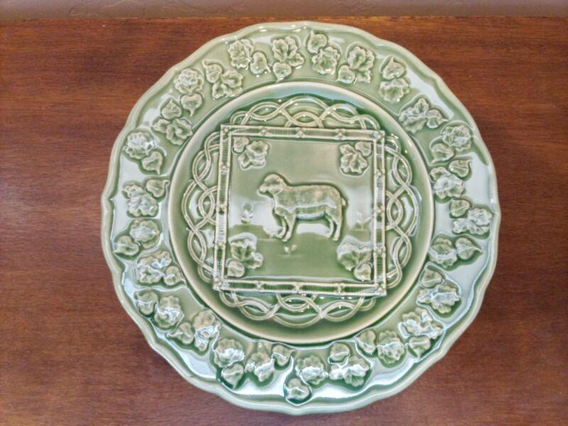 """Bordallo Pinheiro Farm Plates, Set of 3 - Chicken, Cow, Sheep - Green, 9 1/4"""""""