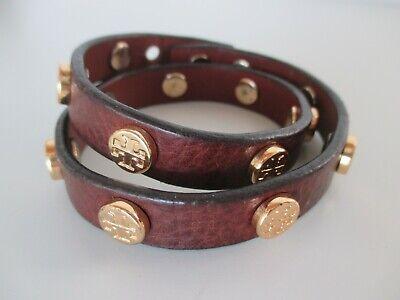 Wie neu, TORY BURCH Wickelarmband mit Logo-Nieten, Doubletour, Bracelet Leder ()