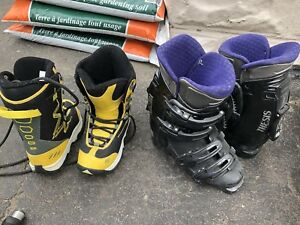 Snowboard (US3) and ski boots (6 woman's shoe)