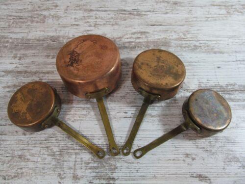Vintage Copper & Brass Measuring Cups Set of 4 ~ Unpolished Aged Patina Hangable