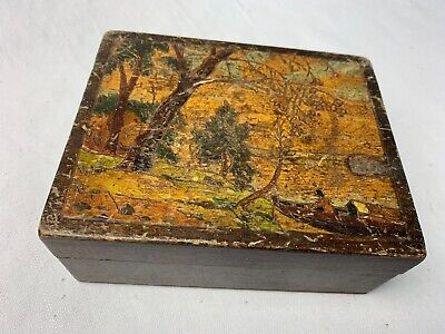 vintage pokerwork and painted box 5 by 4 inches