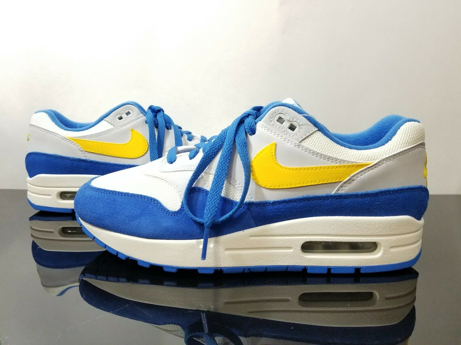 sneakers for cheap 623f9 745e9 ... New Nike Men s Air Max 1 Shoes. Style Number  AH8145-108. Color  Sail  Amarillo-Pure Platinum-Signal Blue. Gender  Men   Adult. Size  Men US 7