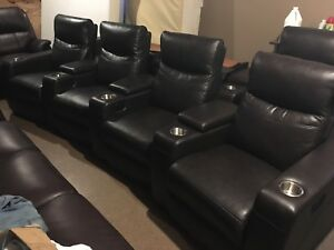 4 pc Top Grain Leather Reclining Theatre Set