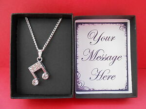 SILVER RHINESTONE MUSIC NOTE PENDANT & NECKLACE GIFT BOXED PERSONALISED MESSAGE