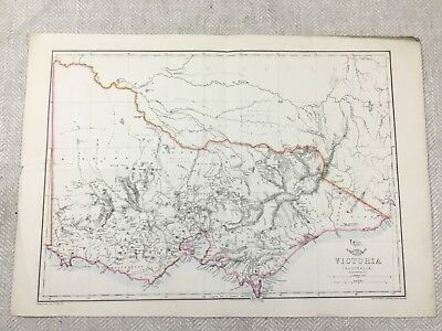 Antique Map of Australia Victoria Old Hand Coloured 19th Century Original