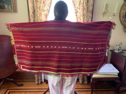 Antique Bolivian Wool Poncho, Hand Made, Wool,  c.1920s