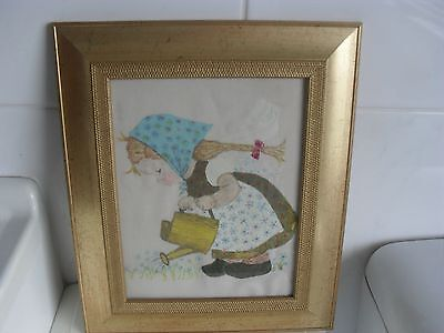 """Vintage Picture Hand Painted on Linen""""Framed""""App12inch down&10&half inch across"""