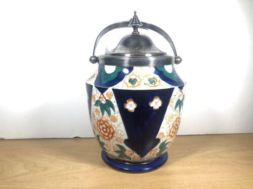 Antique Porcelain Hand Painted Biscuit Jar - Beautiful Vintage Piece
