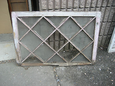 "antique c1900 MISSION style TUDOR diamond pane WINDOW door frame 36"" x 24 x 1.5"""