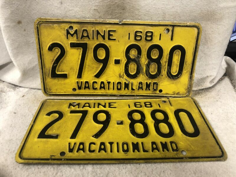Vintage 1968 Maine License Plate Pair