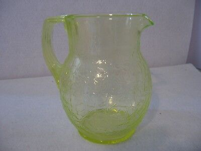 Fenton Vaseline Water Pitcher Crinkle Pattern