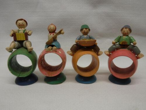 4 vintage Erzgebirge German Folk Figural Wood Napkin Rings lot for PART REPAIRS