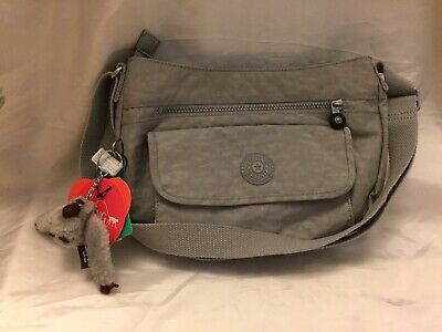 NWT Kipling HB3819 Syro Crossbody Shoulder Bag Purse Nylon Gentle Grey 317