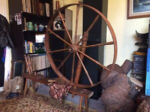 Watson Spinning Wheel with matching wool carters