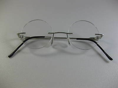 Rimless Round Small Steve Jobs Inspire Silver Reading Glasses Flex Temples  1 50