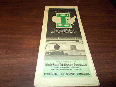 1965 Illinois Tollway State Issued Vintage Road Map And Guide