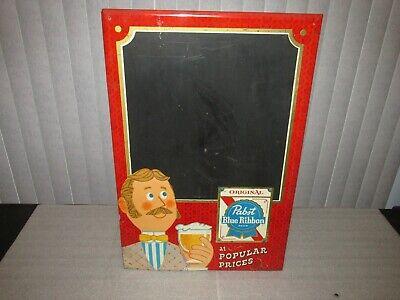 "Vintage Pabst Blue Ribbon Beer SIGN Menu Board  ""At Popular Prices"" tin RARE"