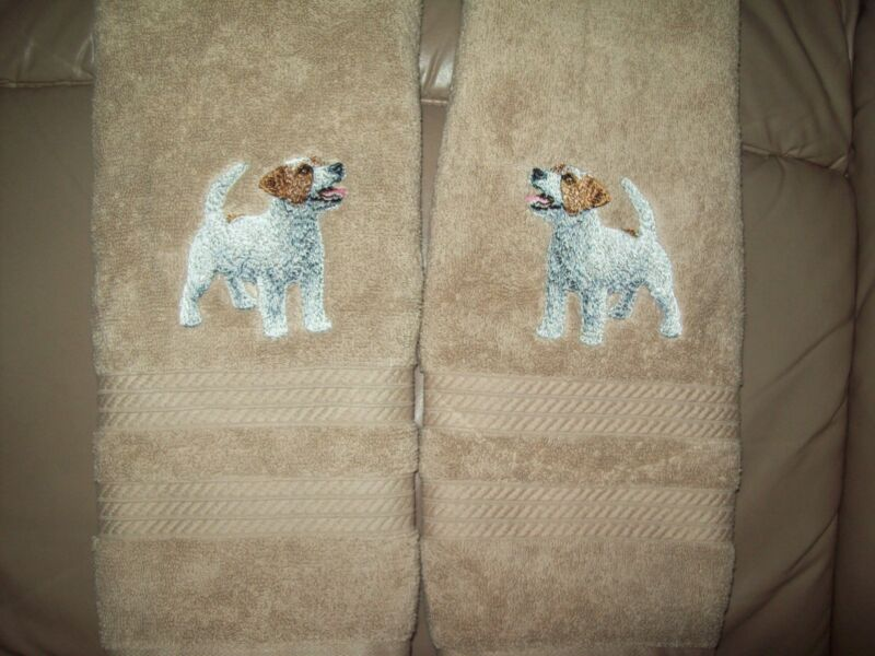 Jack Russell  PUPPY SET OF 2 HAND TOWELS EMBROIDERED Beautiful