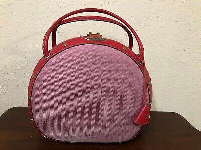 Samsonite Black Label Vintage Pink/Red Tweed Beauty Train Case W/Key