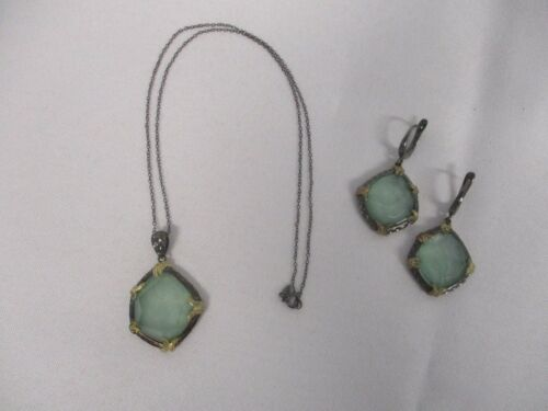 """925 STERLING SILVER SIGNED """"D"""" FACETED GREEN STONE PENDANT NECKLACE & EARRINGS"""