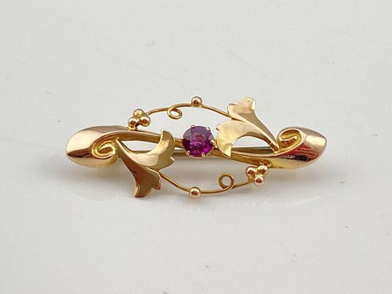 9ct Gold Art Nouveau Rose Gold Almondine Garnet Pin Brooch Gem Set Edwardian Bar