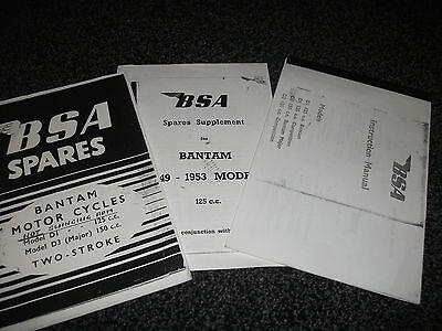 BSA BANTAM D1 125cc & D3 150cc INSTRUCTION MANUAL and SPARES LIST + SUPPLEMENT