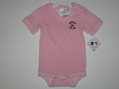 - Boston Red Sox Pink Terry Cloth Baby Creeper With 3 Snap Inseam #1542