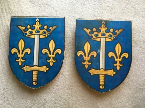 Pair Vintage French Hand Painted Wood Processional Flag Holders
