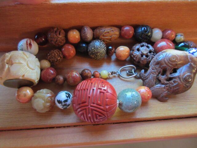 Gorgeous Chinese Carved Gemstone Shou Bead Jade Wood Agate Cinabar etc Necklace