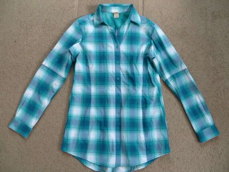 EXCELLENT Duluth Trading green plaid long-sleeve camping shirt - womens S-M