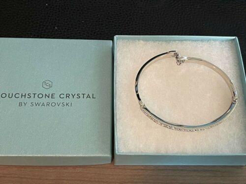 New Touchstone Crystal Swarovski Crystal & Rhodium Hinged Cuff Bracelet NIB