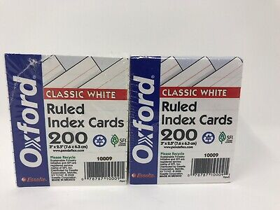 Oxford - Half-size Ruled White Index Cards - 2x 200 Pack - 2.5 X 3 - Lot Of 2