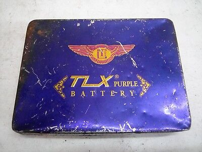 - Collectible Old Vintage TLX purple  Battery Ad Litho Tin Box