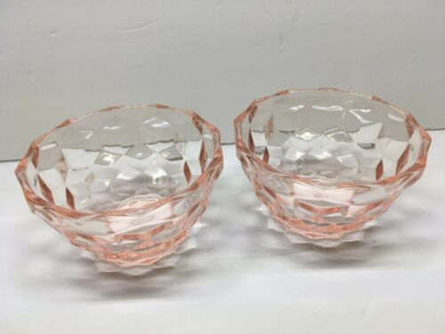Set of TWO Jeannette Pink Depression Glass Cube Cubist Individual Berry Bowls 2