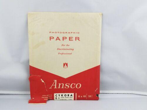 Vintage 25 Sheets Ansco Cykora K-1 8x10 Professional Photographic Paper Exp 9/65