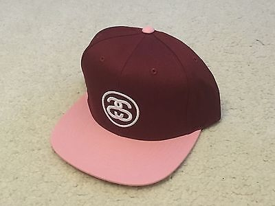 STUSSY SS LINK SNAPBACK HAT PLUM RED NWT supreme palace