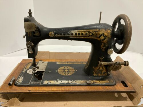 Ornate Antique Franklin Sewing Machine #13668 Gold Flower Design As is or parts