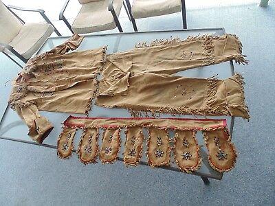 VINTAGE NATIVE AMERICAN INDIAN BEADED JACKET PANTS BELT HEADDRESS BONNET OUTFIT