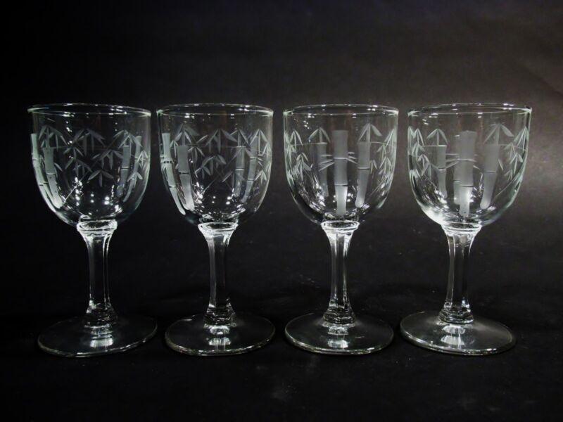 Midcentury SASAKI NORITAKE Crystal BAMBOO Multisided Stem 4 Wine Goblets