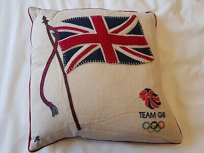 BNWT Jan Constantine small linen cushion with appliqued Union Flag