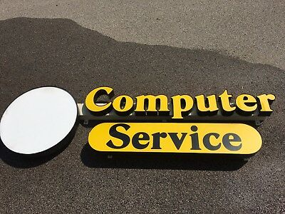 Computer Service Channel Letter Sign Backlit Approximately 10.5 Ft X 3.5 Ft