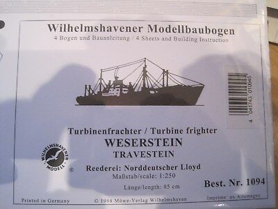 Weserstein Frachter Wilhelmshavener Modellbaubogen Bastelbogen Kartonmodel