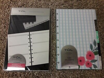 Lot Of Tul Note Taking System Refills Undated 2 Page Weekly Monthly Dividers