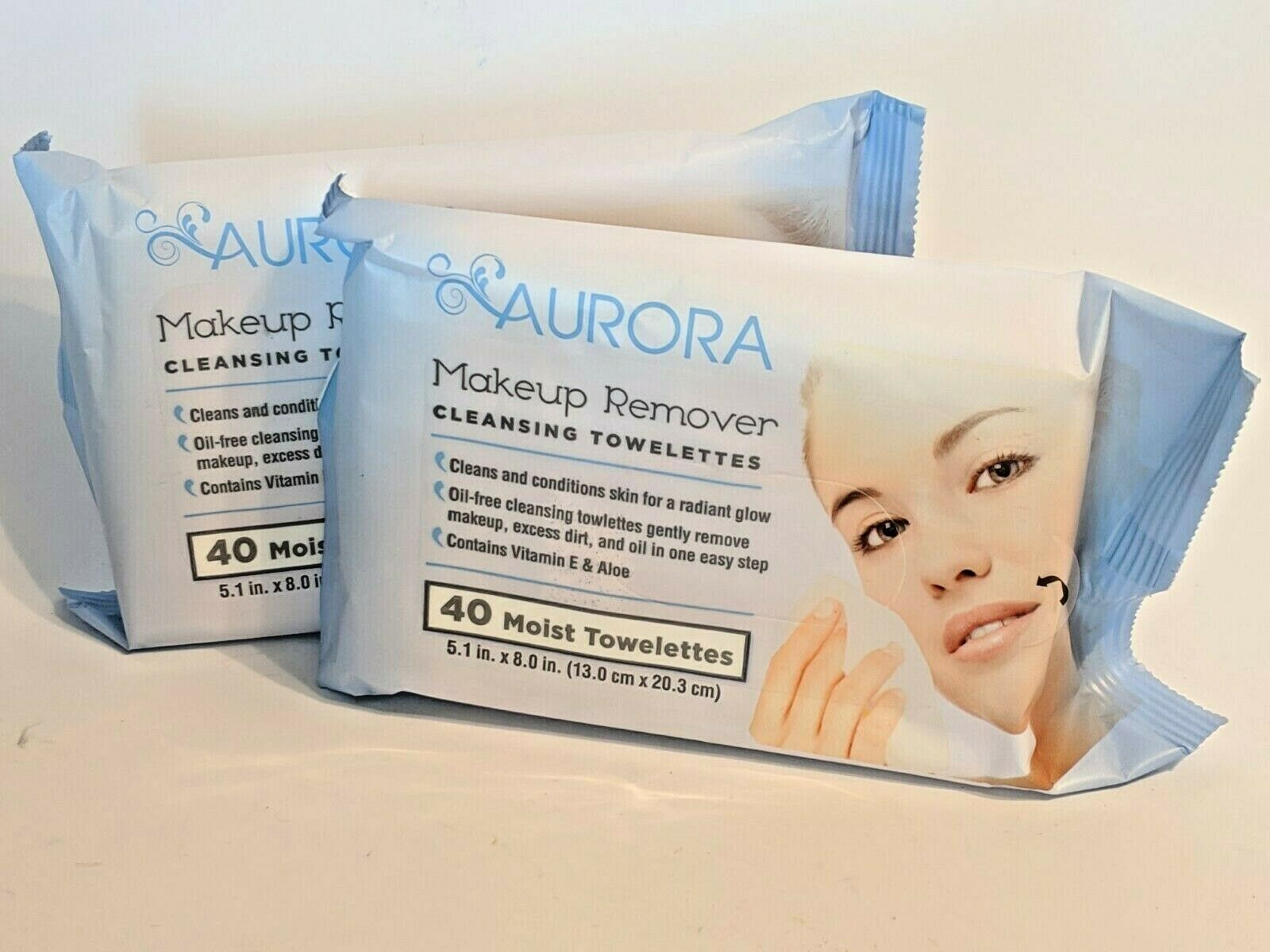 AURORA MakeUp Remover Cleansing Towelettes Moist 40 count ea
