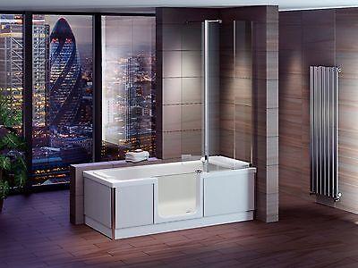 Badewanne mit Tür STYLE 170x75cm + Duschabtrennung + Wannenschürze +Sitz+Ablauf